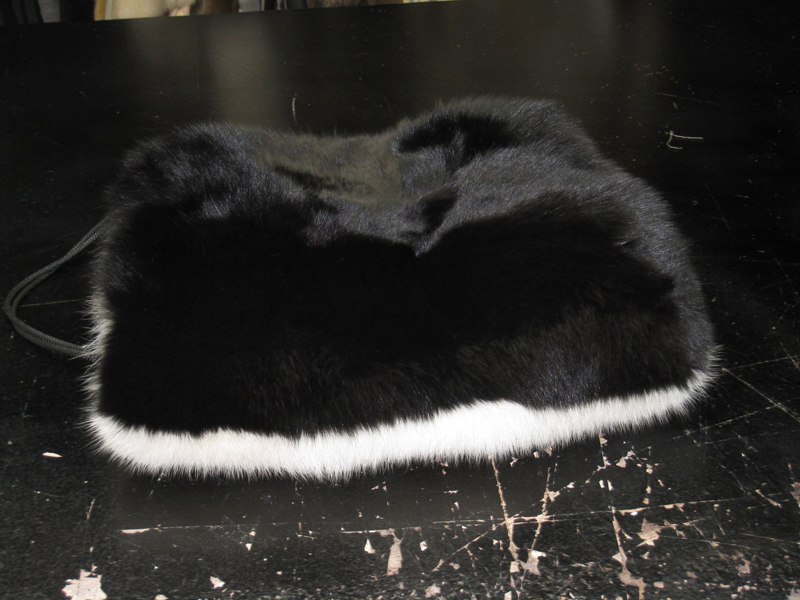 Vintage Dyed Black & White Fox Muff