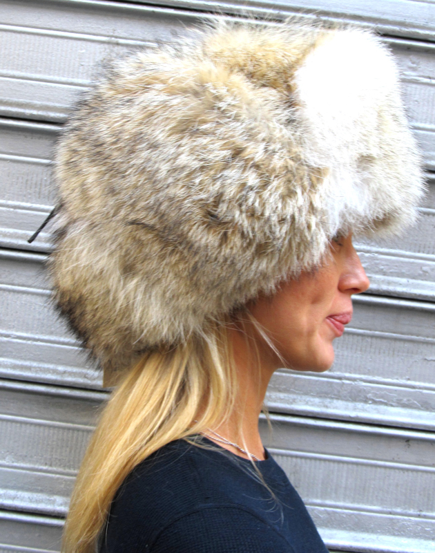 Natural All Fur Coyote Trapper Hat