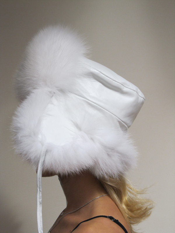 New Shadow Fox Trapper Hat W/ White Leather