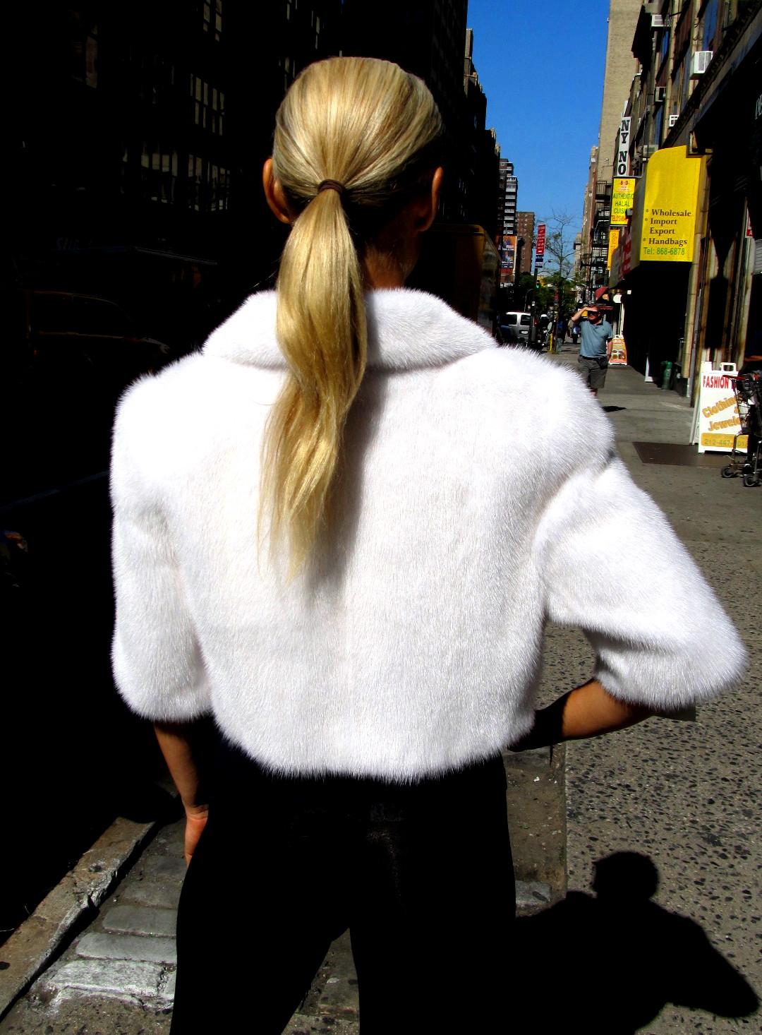 New Bright White Mink Bolero Jacket (size: 6 - 8)