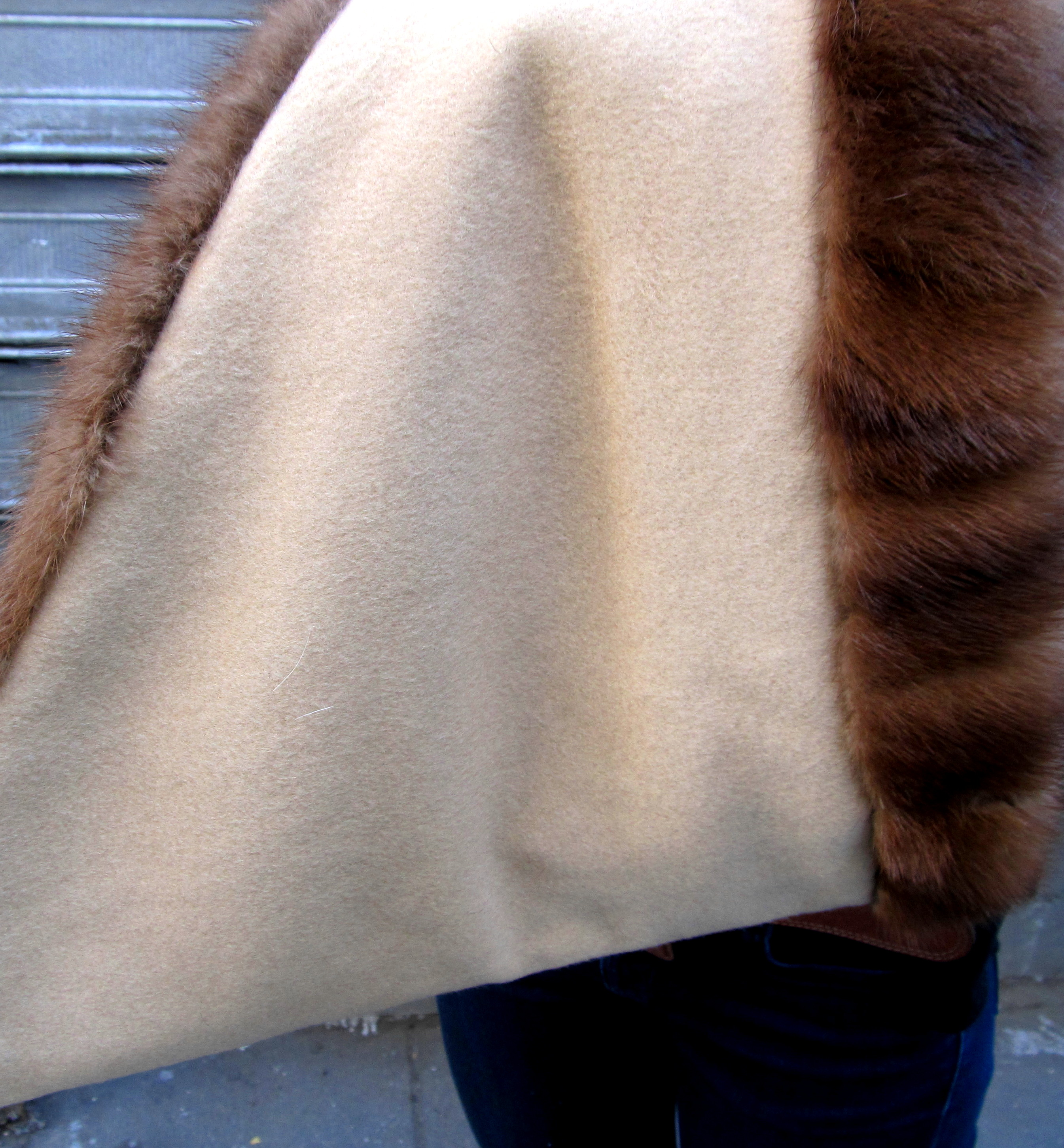 Natural Demi Buff Mink Funnel Collar Reversible to Cashmere / Remodel Sample
