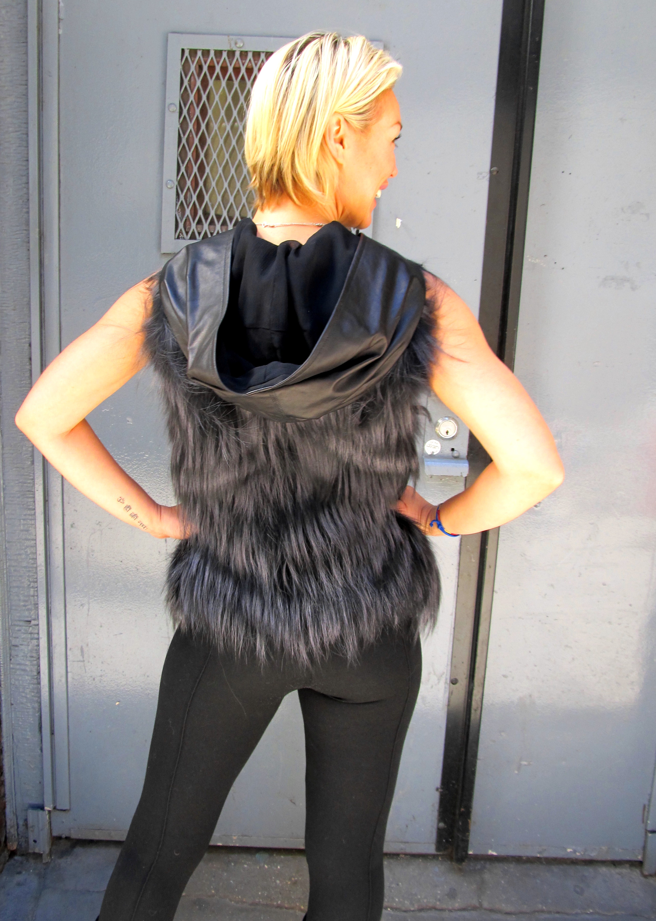 J. Mendel New Dyed Silver Fox Vest w/ Leather Hood ( size: 4 - 6)
