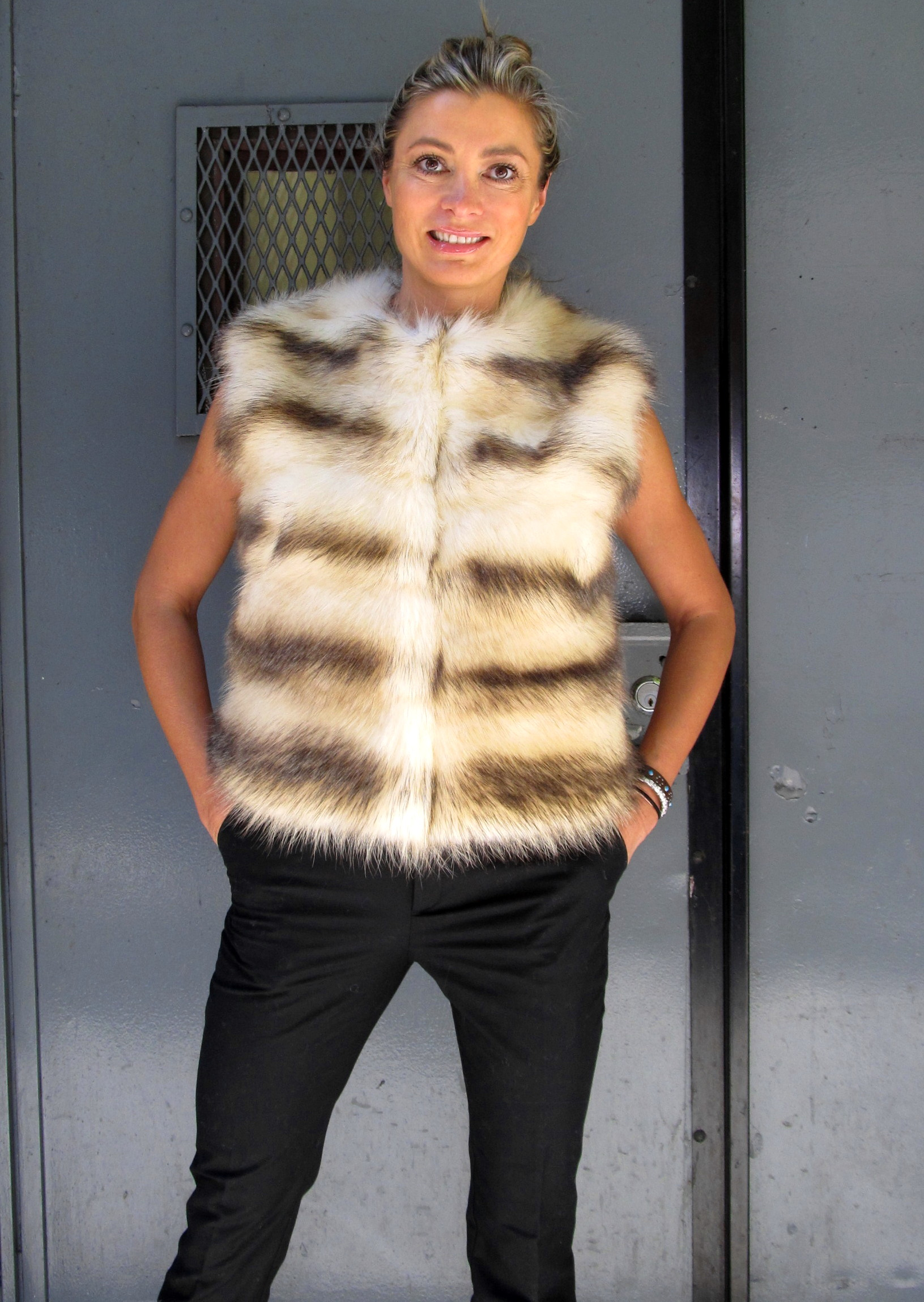 Like New Dyed Polar Raccoon Vest (size: 6)