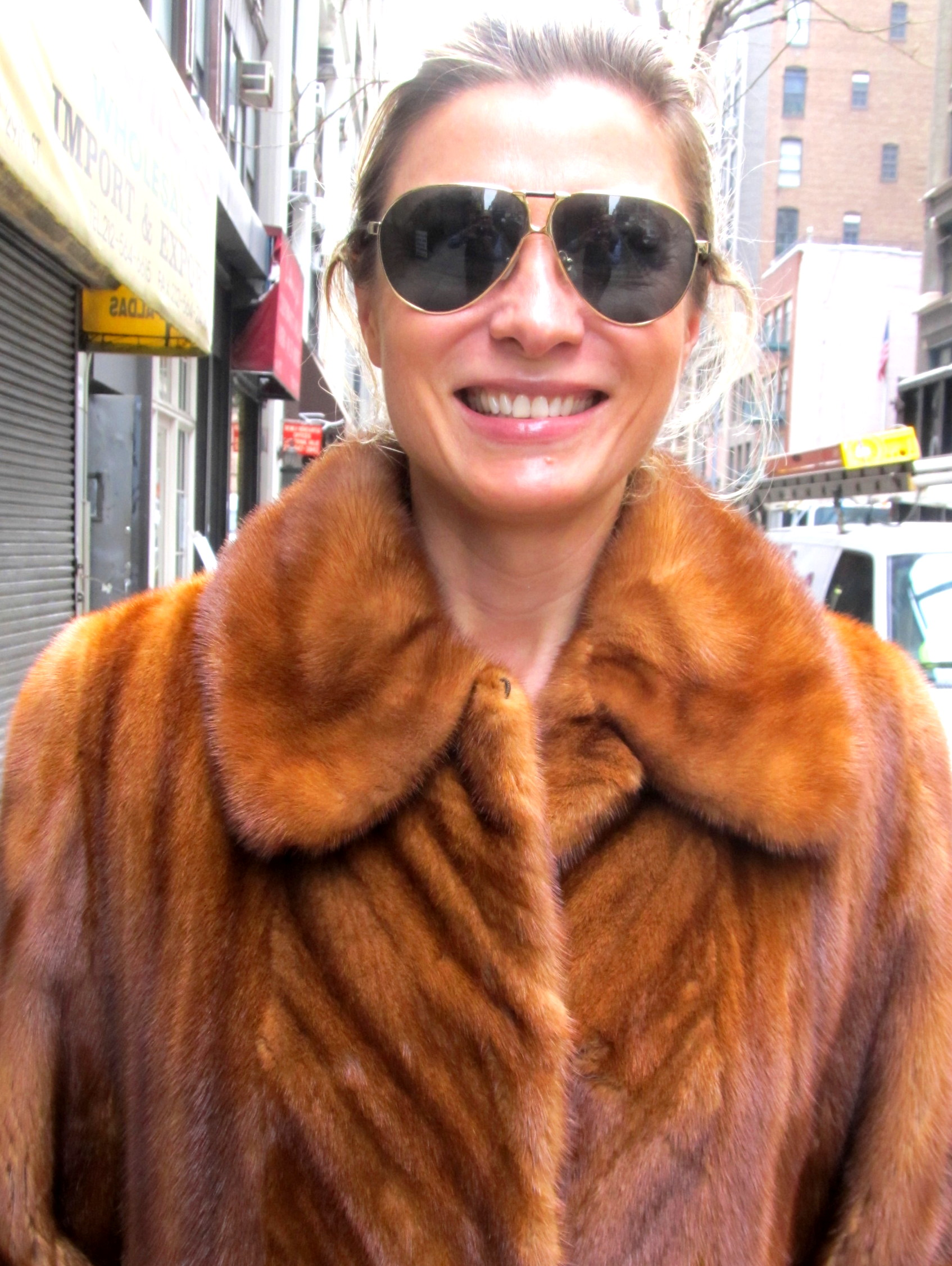 Just Reduced** Pre-Owned Cognac Dyed Female Mink Coat ( size: 8 ...