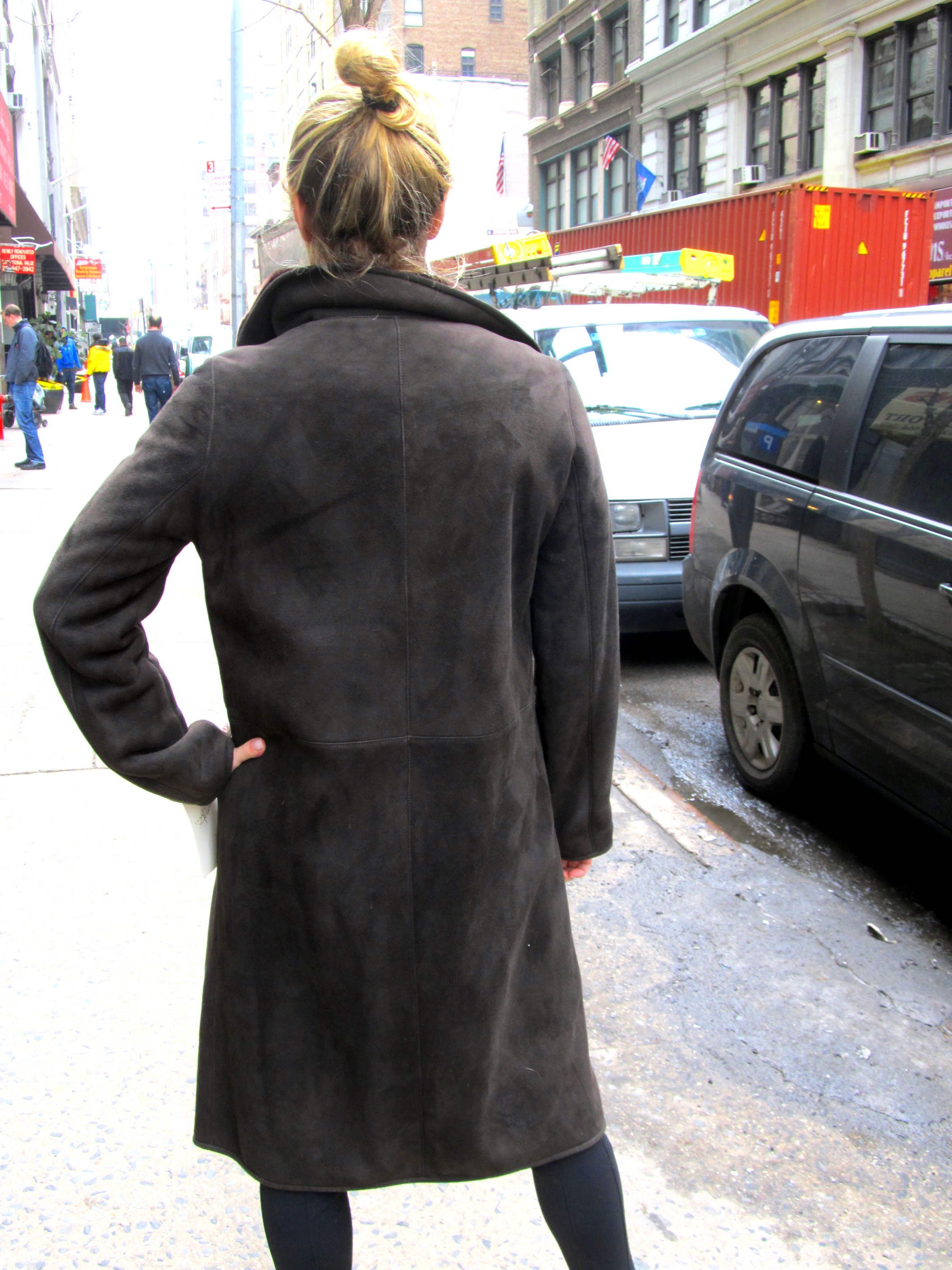 New Brown Dyed Shearling Lamb 7/8 Coat (size: 6)