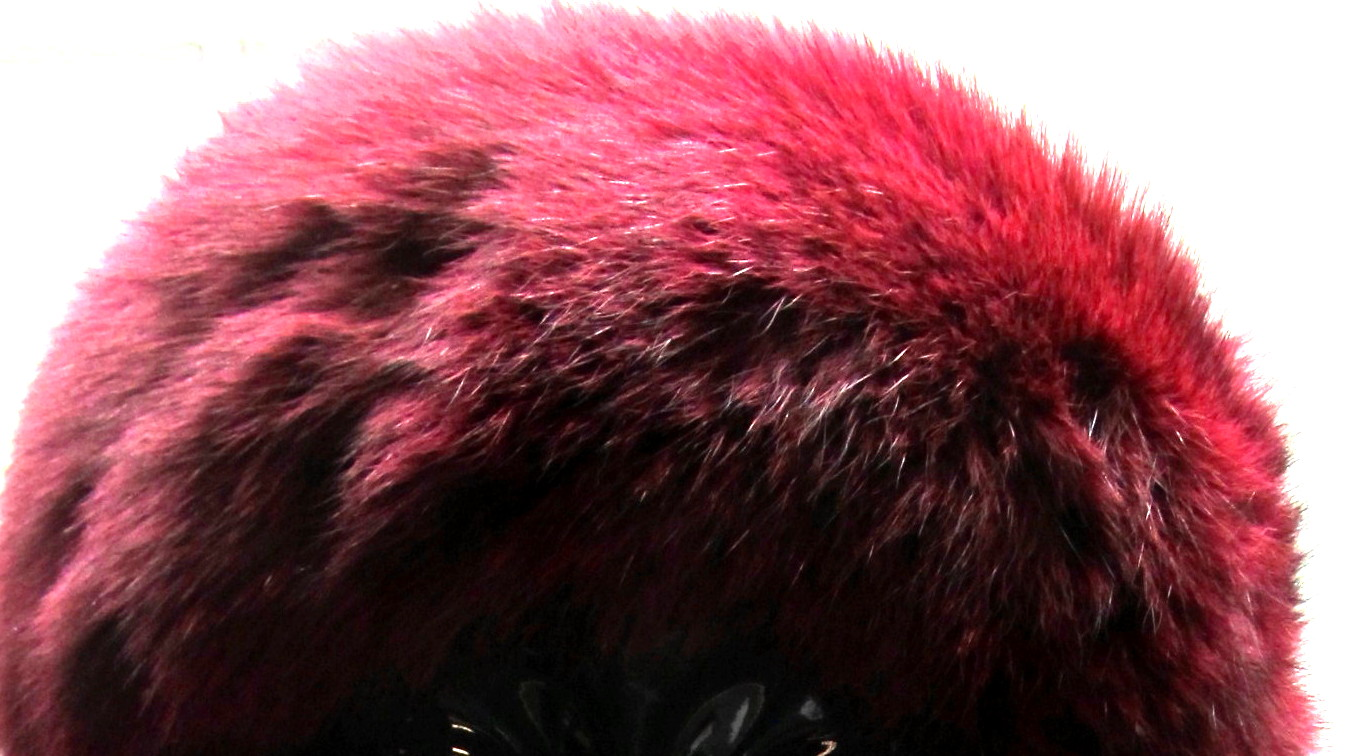 Burgundy Dyed Fox Headband
