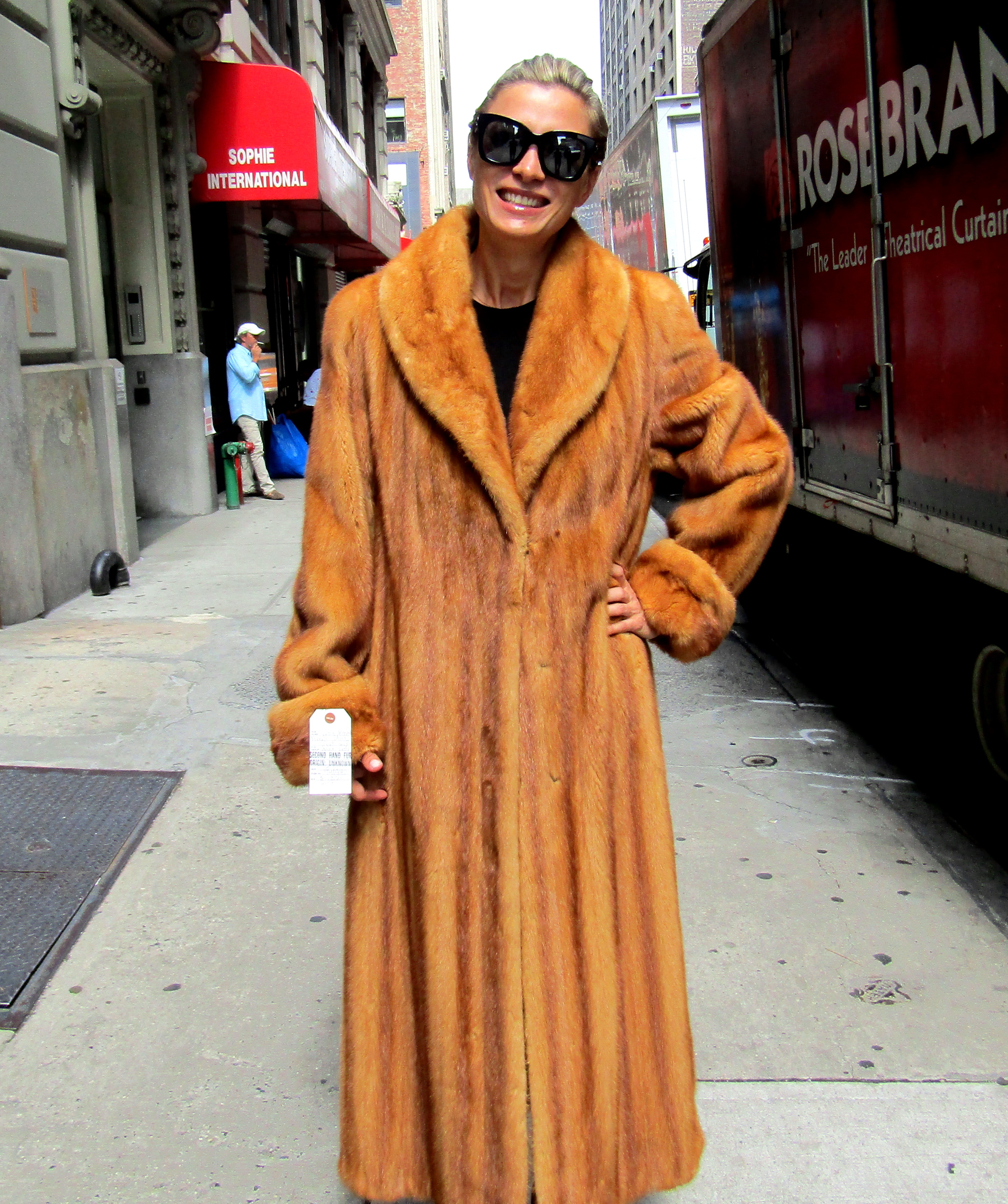 Pre-Owned Whiskey Dyed Let Out Female Mink Coat (size: 8 - 10 ...