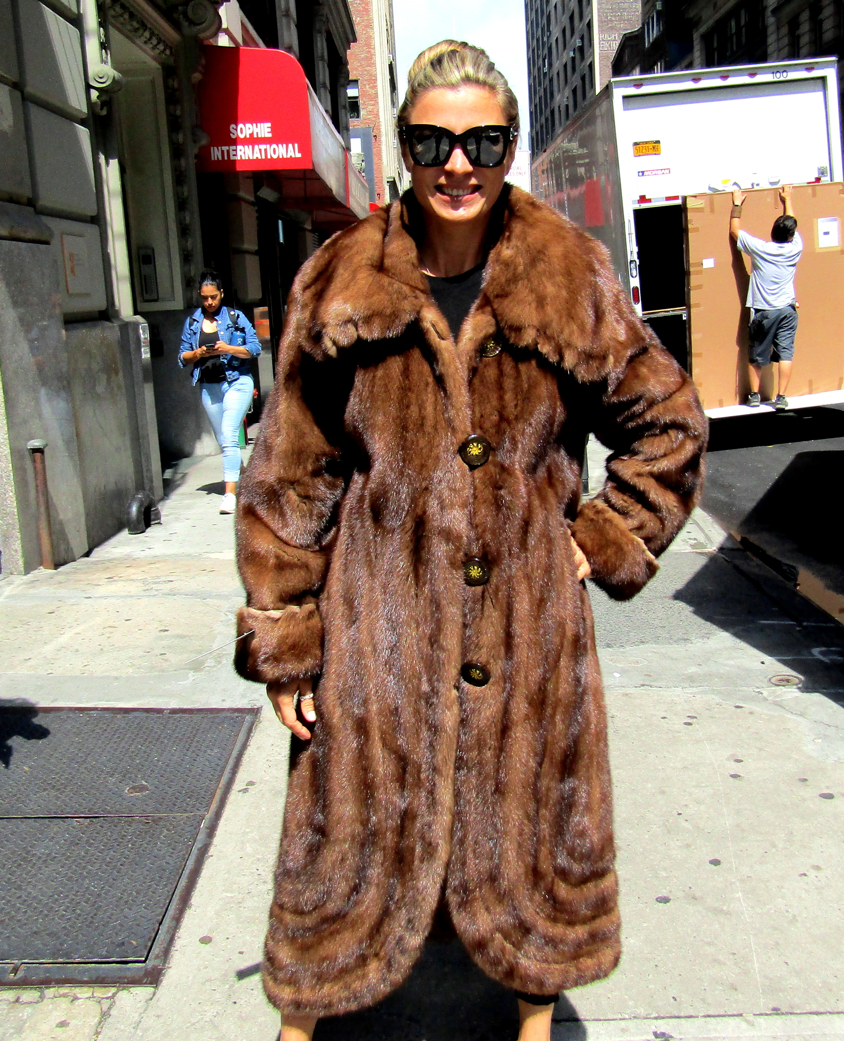 Pre-Owned Natural Demi Buff Mink Coat w/ Fringes & Swirl Bottom ...