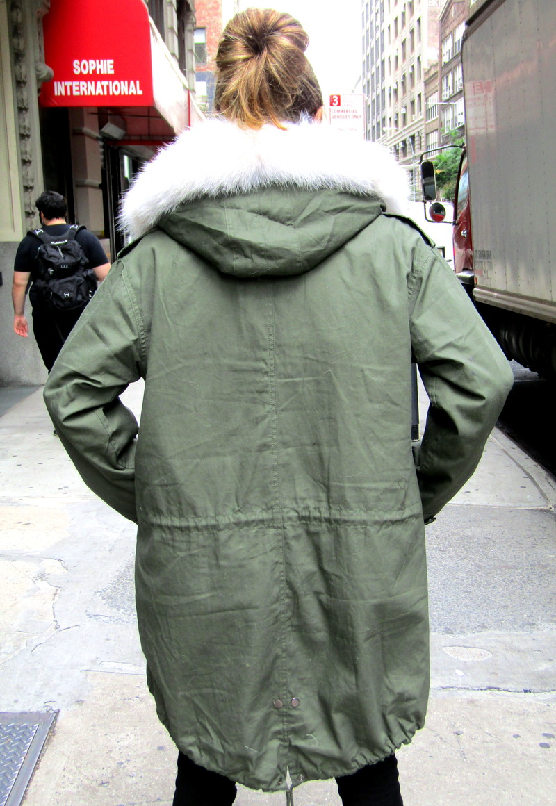 Army Surplus Field Parka Lined w/ Coyote Sections & Coyote Trimmed Hood ( size: Unisex / small)