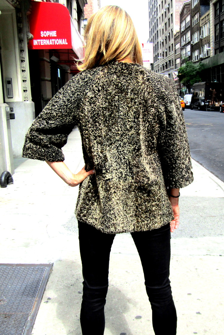 New Brown Tweed Persian Lamb Caban Jacket (size: M) ** Remodeling Sample **