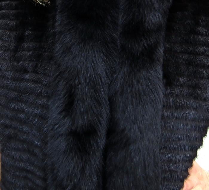 New Black Mink Corduroy 3/4 Vest w/ Black Fox Trim ( size: S)