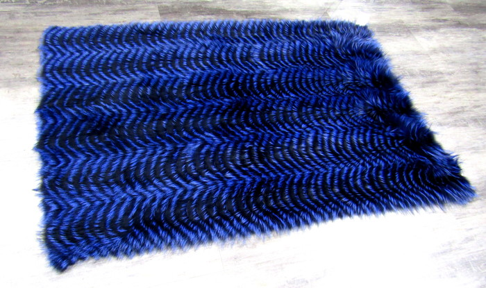 New Royal Blue Dyed Silver Fox Throw