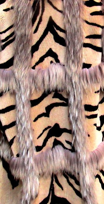 Zuki Designed Pre-Owned Stenciled Beaver 3/4 Coat w/ Asiatic Raccoon Trim (size: 12 - 14)