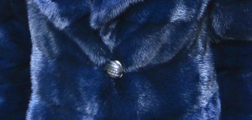 New Navy Blue Dyed Mink Horizontal 3/4 Coat (size: 4 - 6)