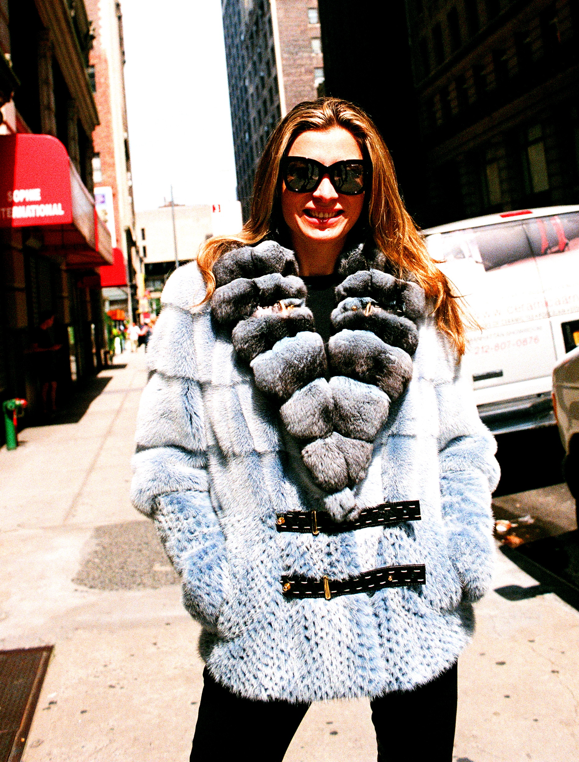 Like New Powder Blue Dyed Mink Jacket w/ Matching Chinchilla Collar (size: 4 - 6)