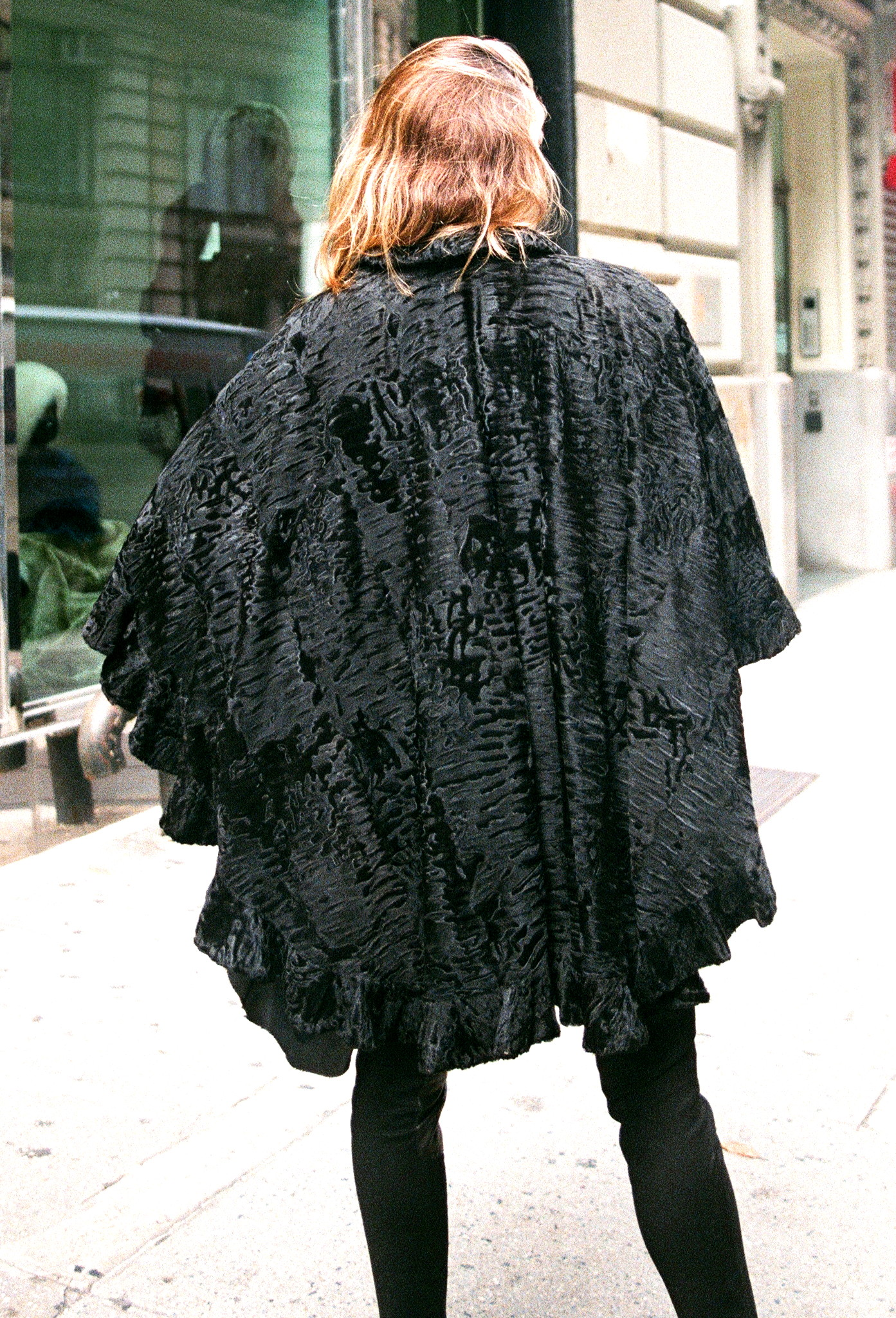 Valentino Designed Like New Black Dyed Swakara Lamb Cape ( size: 1 size fits all)