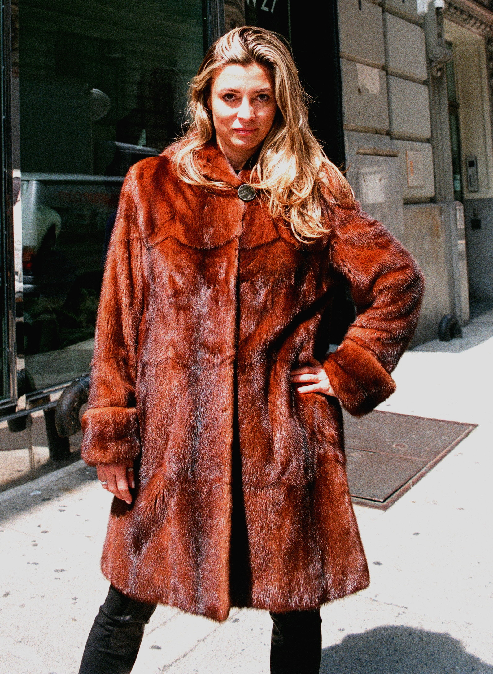Feraud Designed Pre-Owned Cognac Dyed Mink 7/8 Coat w/ Hood (size: 8 - 10)