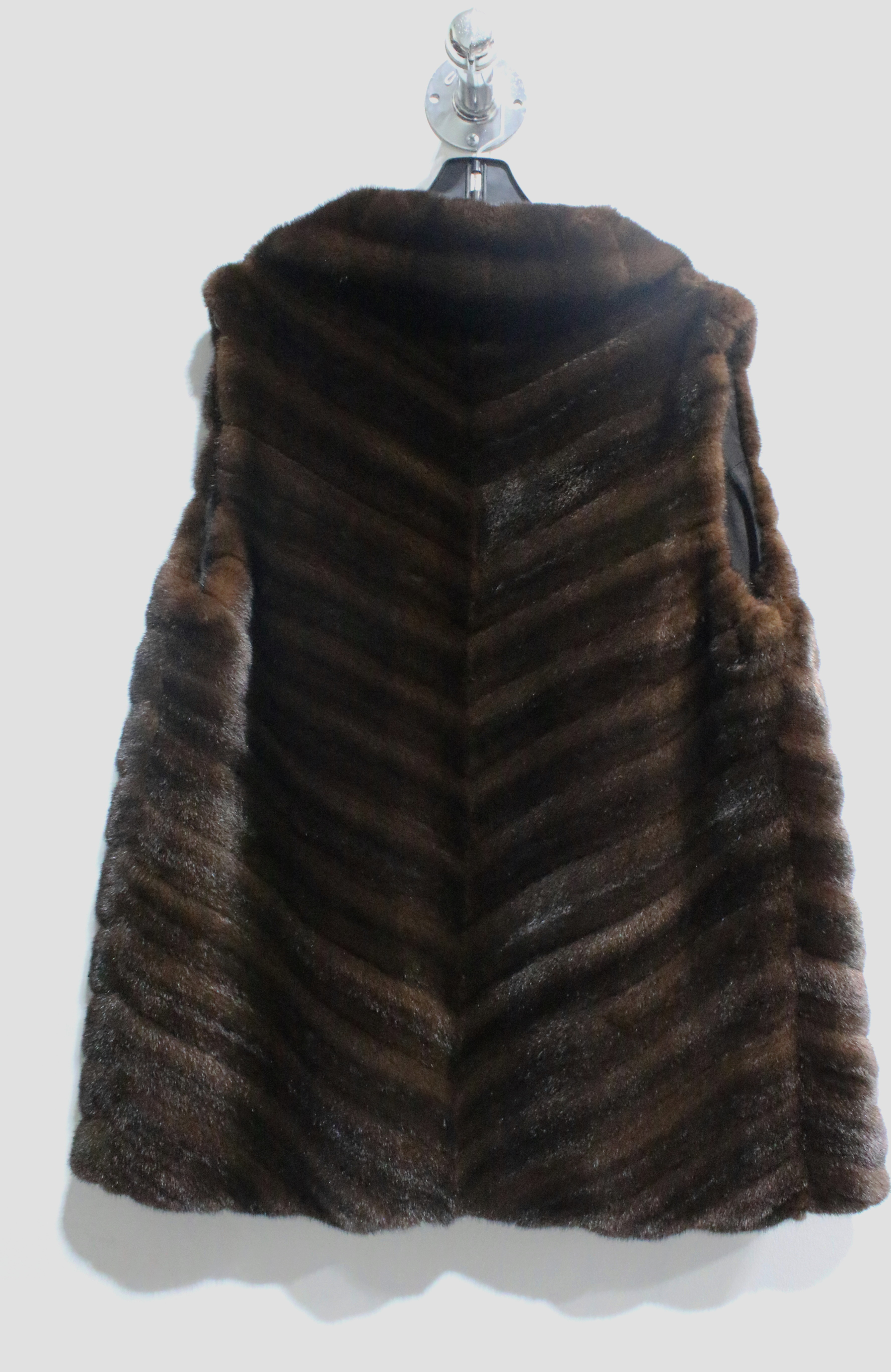 Like New Natural Mahogany Mink Diagonal Vest ( size: 8) Remodeling Sample