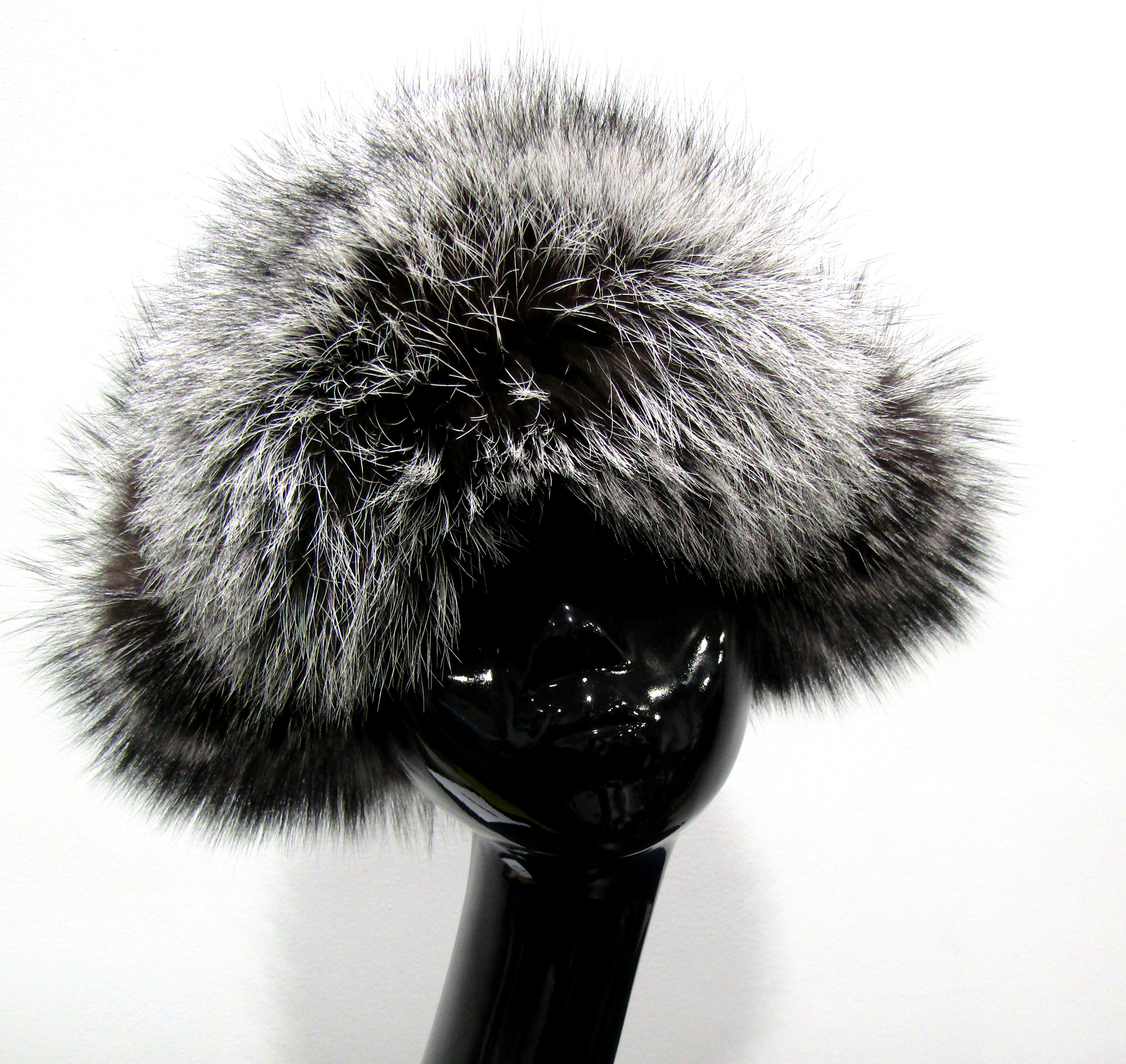 fa448498449 New Silver Fox Trapper Hat w  Black Suede   Leather - Madison Avenue Furs    Henry Cowit