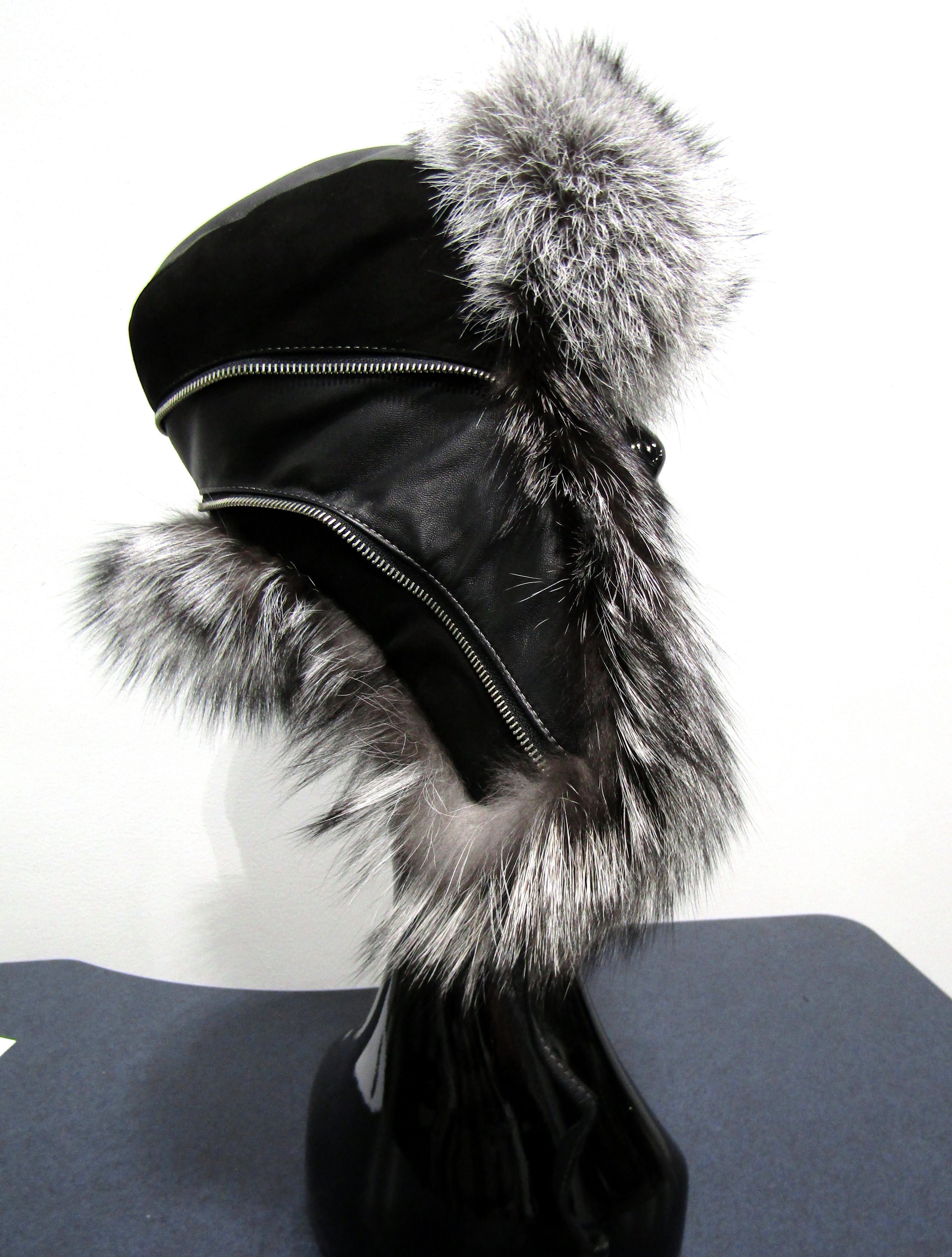 New Silver Fox Trapper Hat w/ Black Suede & Leather