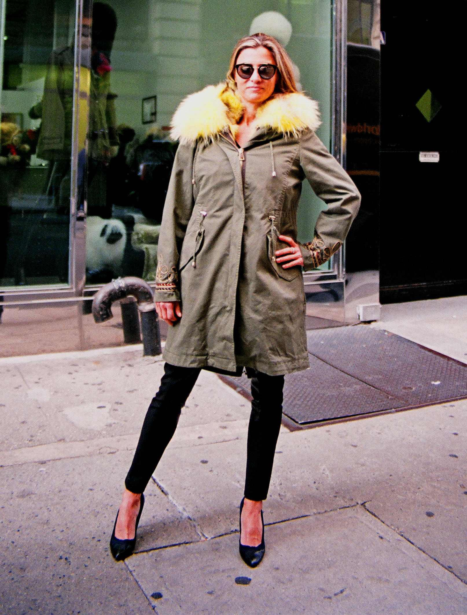 New Army Field Jacket w/ Lime Green Dyed Fox Sections & Trimmed Hood (size: 10  Euro 44)