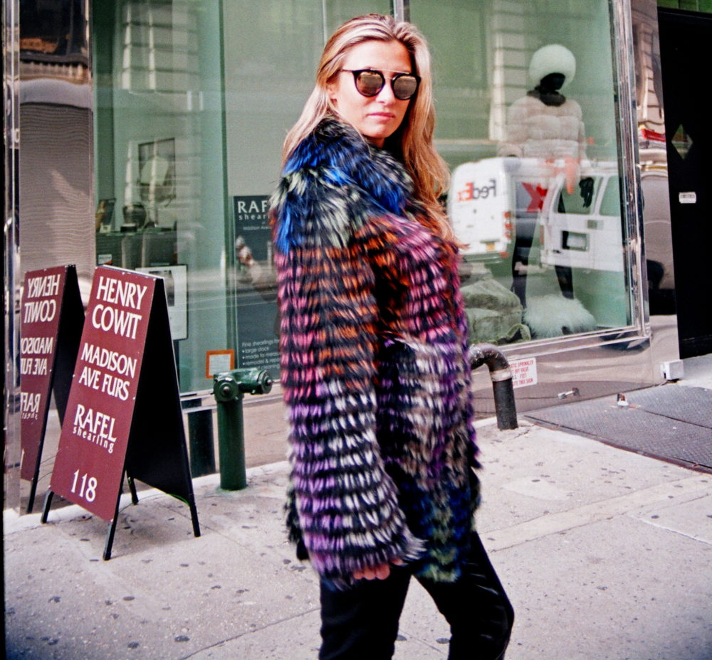 New Multi-Colored Dyed Feathered Silver Fox 3/4 Coat (size: Med)