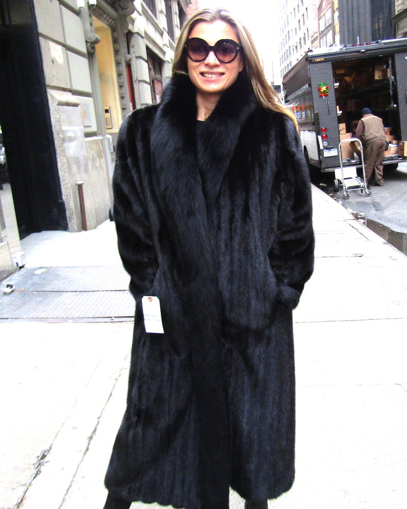 0e9a7c241 Pre-Owned Black Dyed Mink Coat w/ Black Fox Collar and Tuxedo (size: 12 -  14)